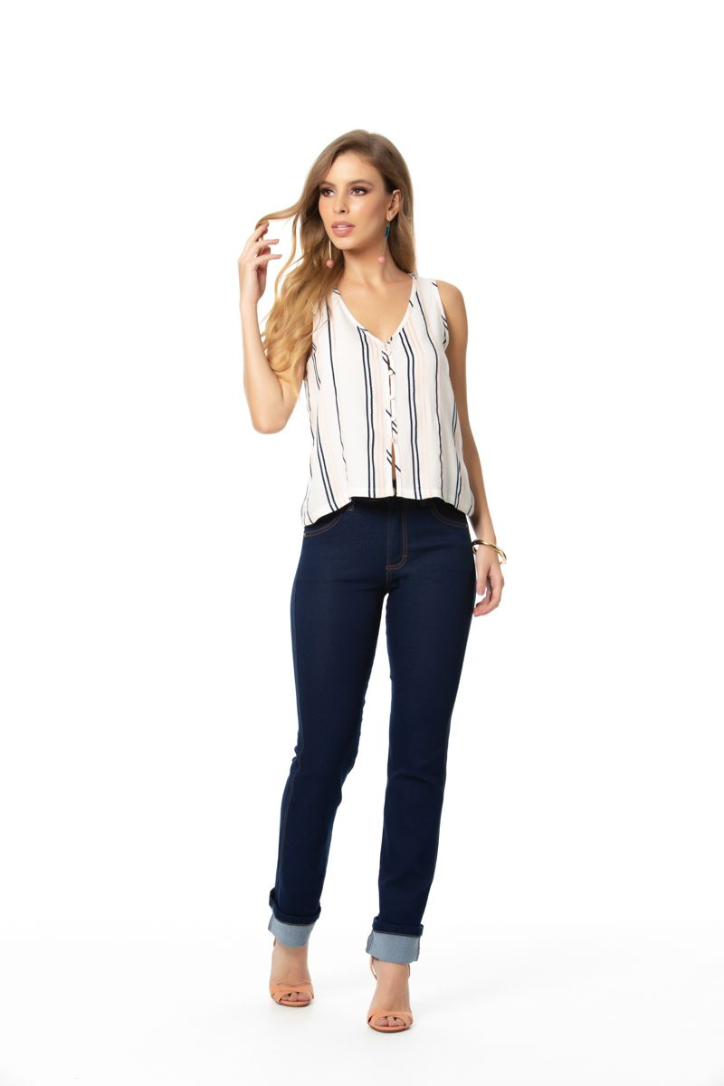 calça jeans reta com elastano cós alto Gatos e Atos