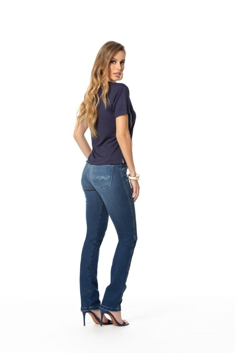 calça jeans reta com elastano cós médio Gatos e Atos