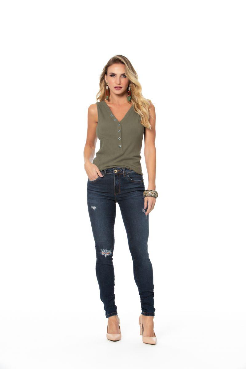 calça jeans skinny com elastano cós médio Gatos e Atos