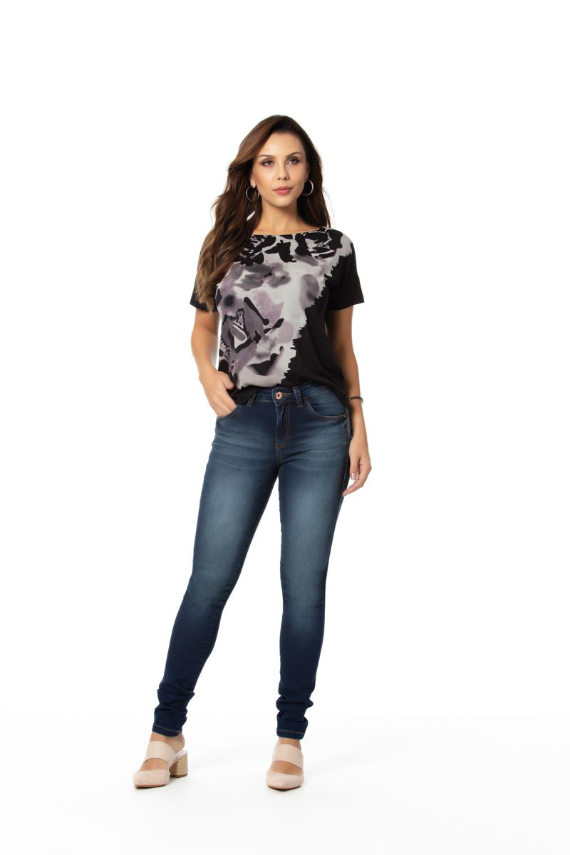 calça moletom jeans skinny com elastano cós médio Gatos e Atos