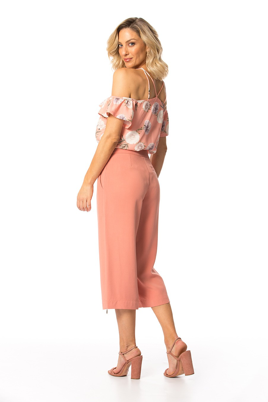 Calça Viscose Alfaiataria Double Pantalona Cropped Cós Alto Gatos e Atos