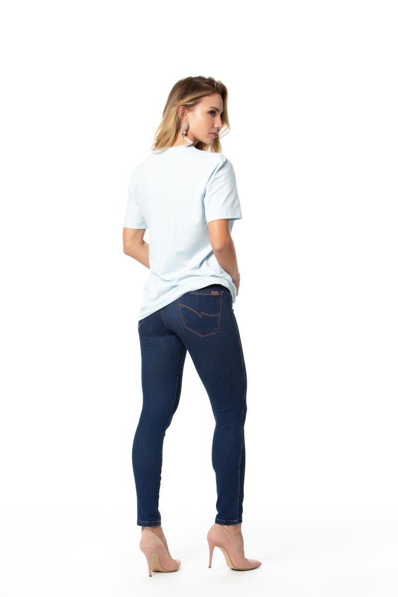 jegging jeans cigarrete com elastano cós médio