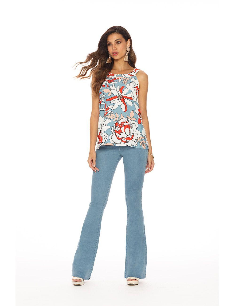 jegging jeans flare c/ elastano cós médio