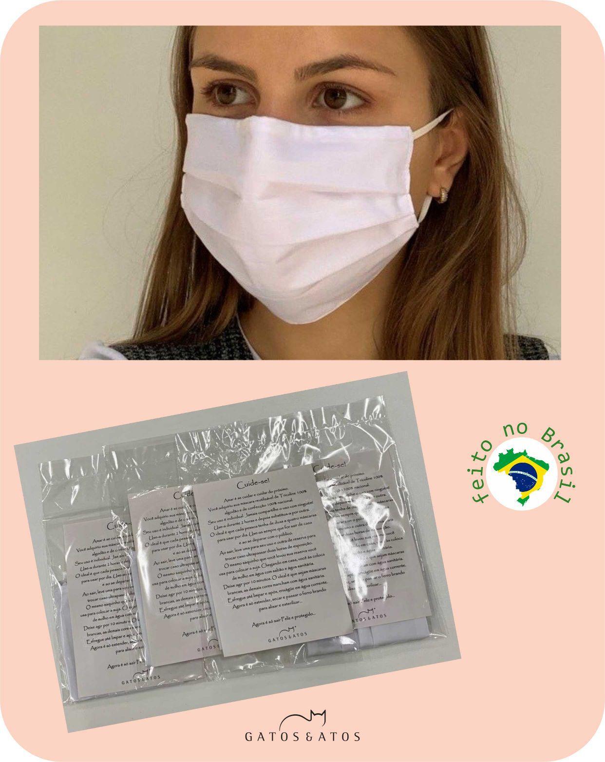 máscara em tricoline 100% algodão Gatos e Atos