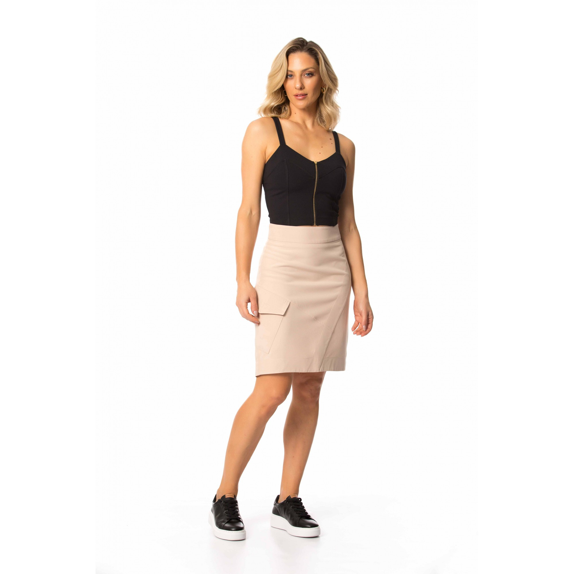 Top Cropped Ponto Roma Tecno Stretch com Elastano Gatos e Atos