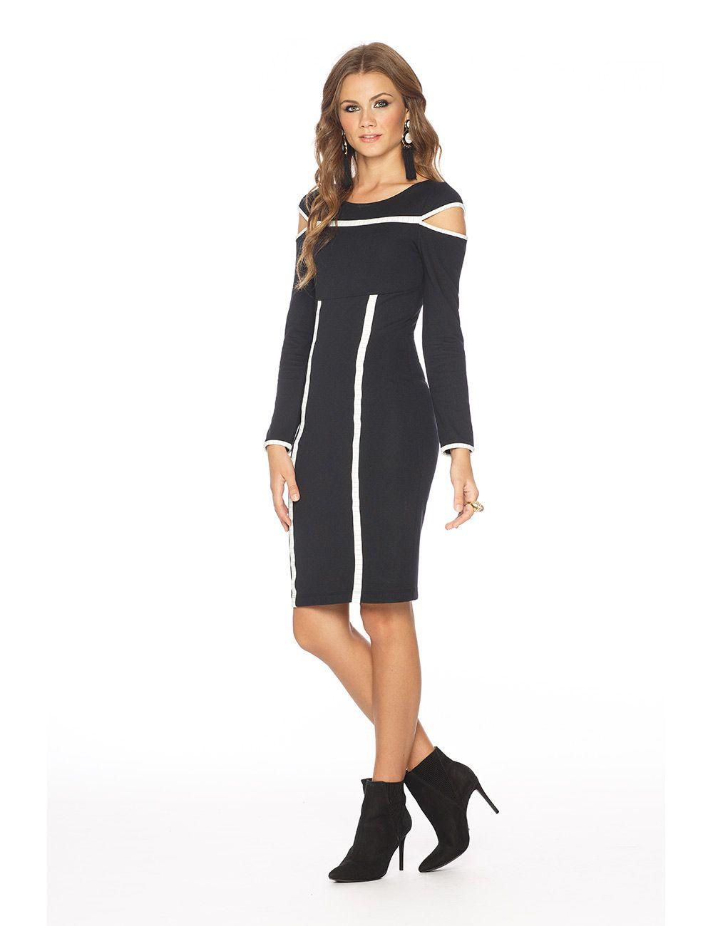 vestido ponto roma tecno stretch com elastano e risca de giz poliamida com elastano Gatos e Atos