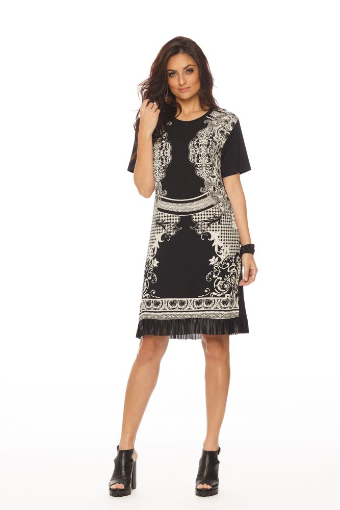 vestido viscose com visco crepe e plissado milano Gatos e Atos