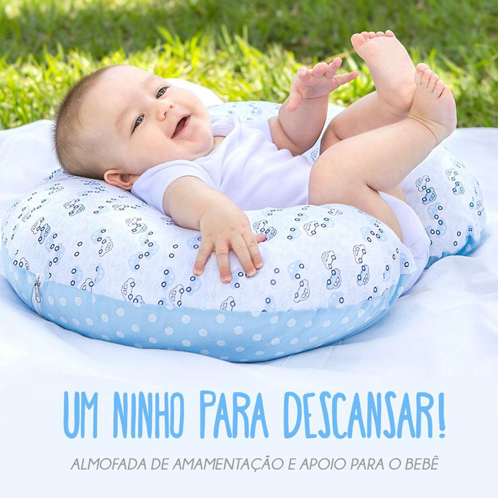 Almofada de Amamentação e Apoio Azul para o Bebê 4 em 1 Papi