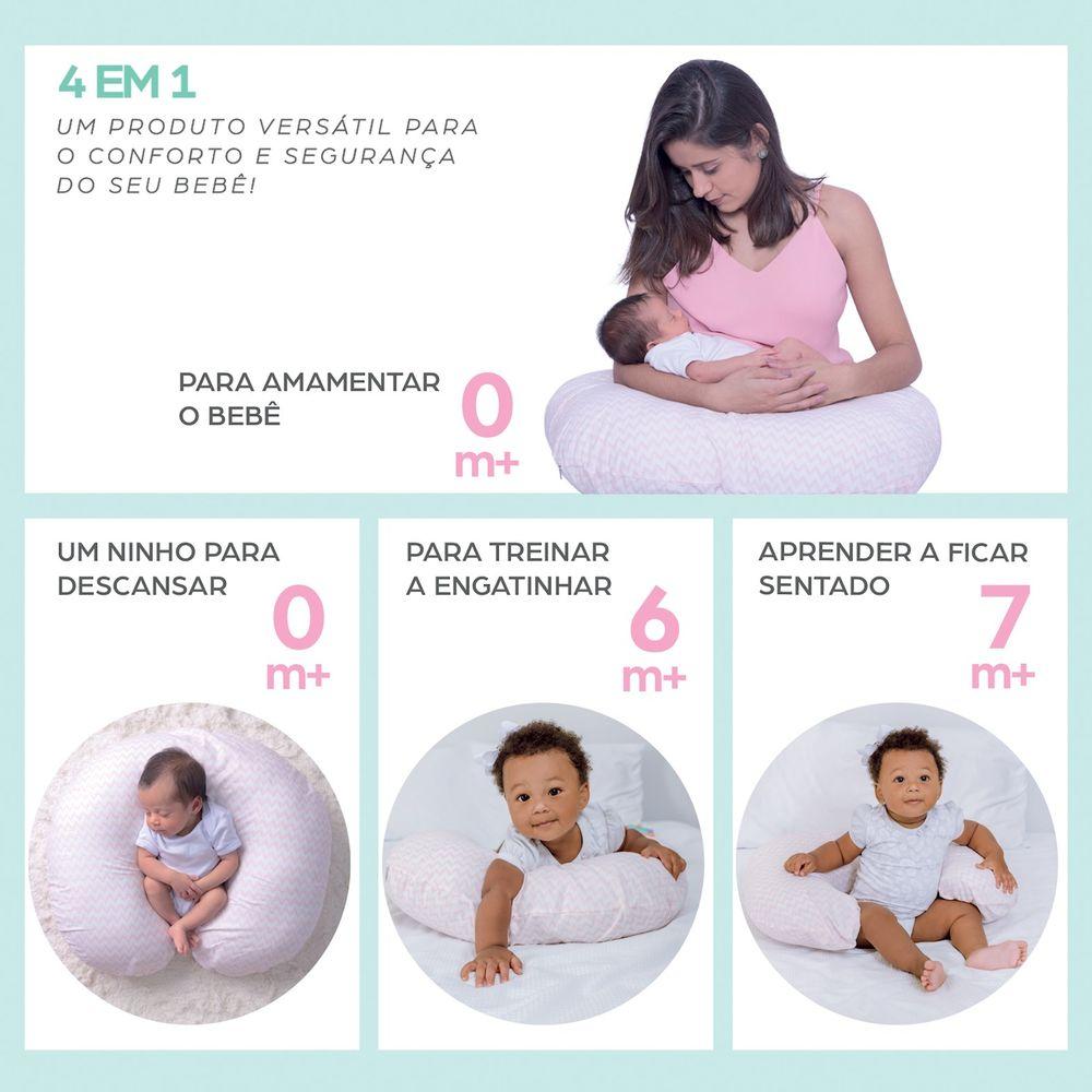 Almofada de Amamentação e Apoio Rosa para o Bebê 4 em 1 Papi