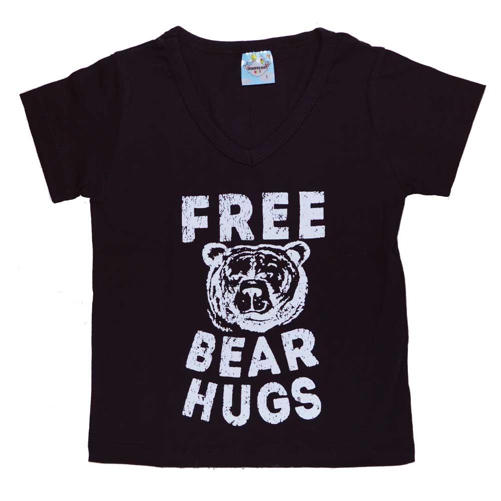 Blusa Infantil (1/2/3) Preta Abraço de Urso