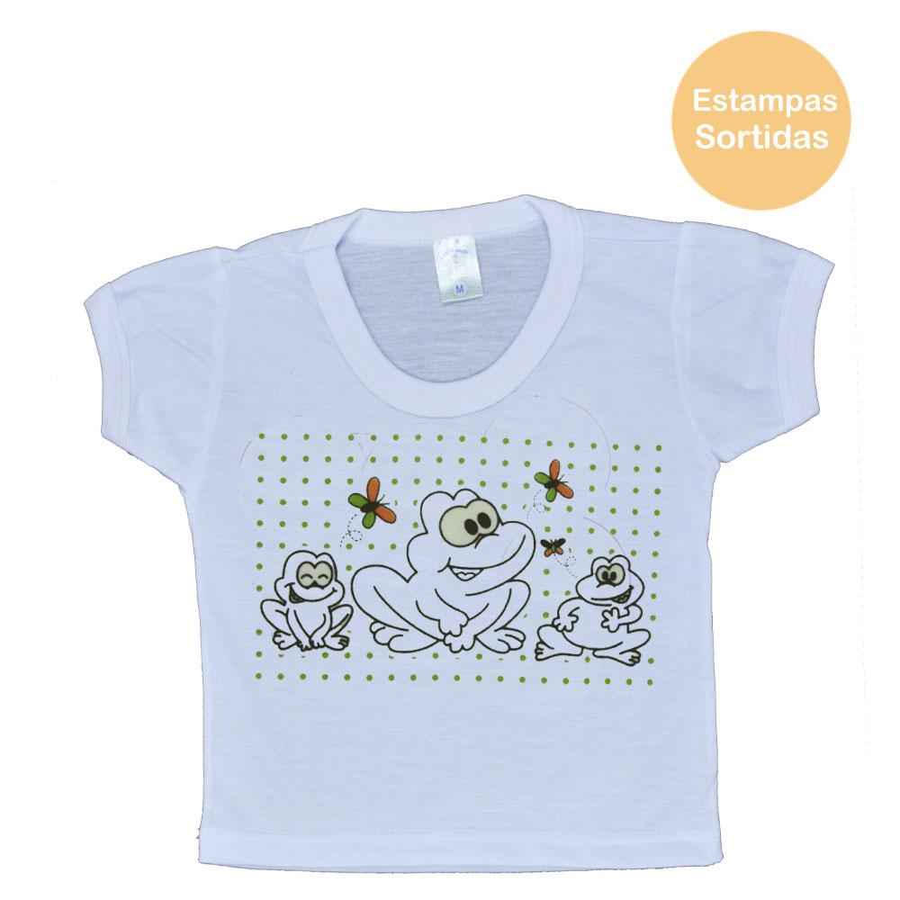Blusa Manga Curta PV de Bebê Branco Masculina Estampas Sortidas (P/M/G)
