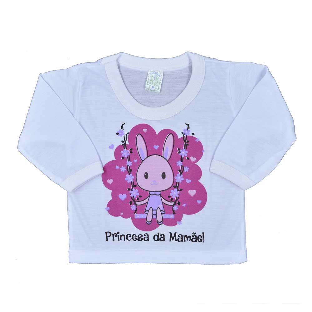 Blusa Manga Longa PV de Bebê Branca Feminino Estampas Sortidas (P/M/G)
