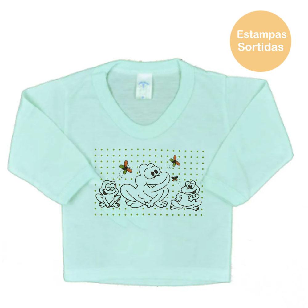 Blusa Manga Longa PV de Bebê Verde Masculina Estampas Sortidas (P/M/G)