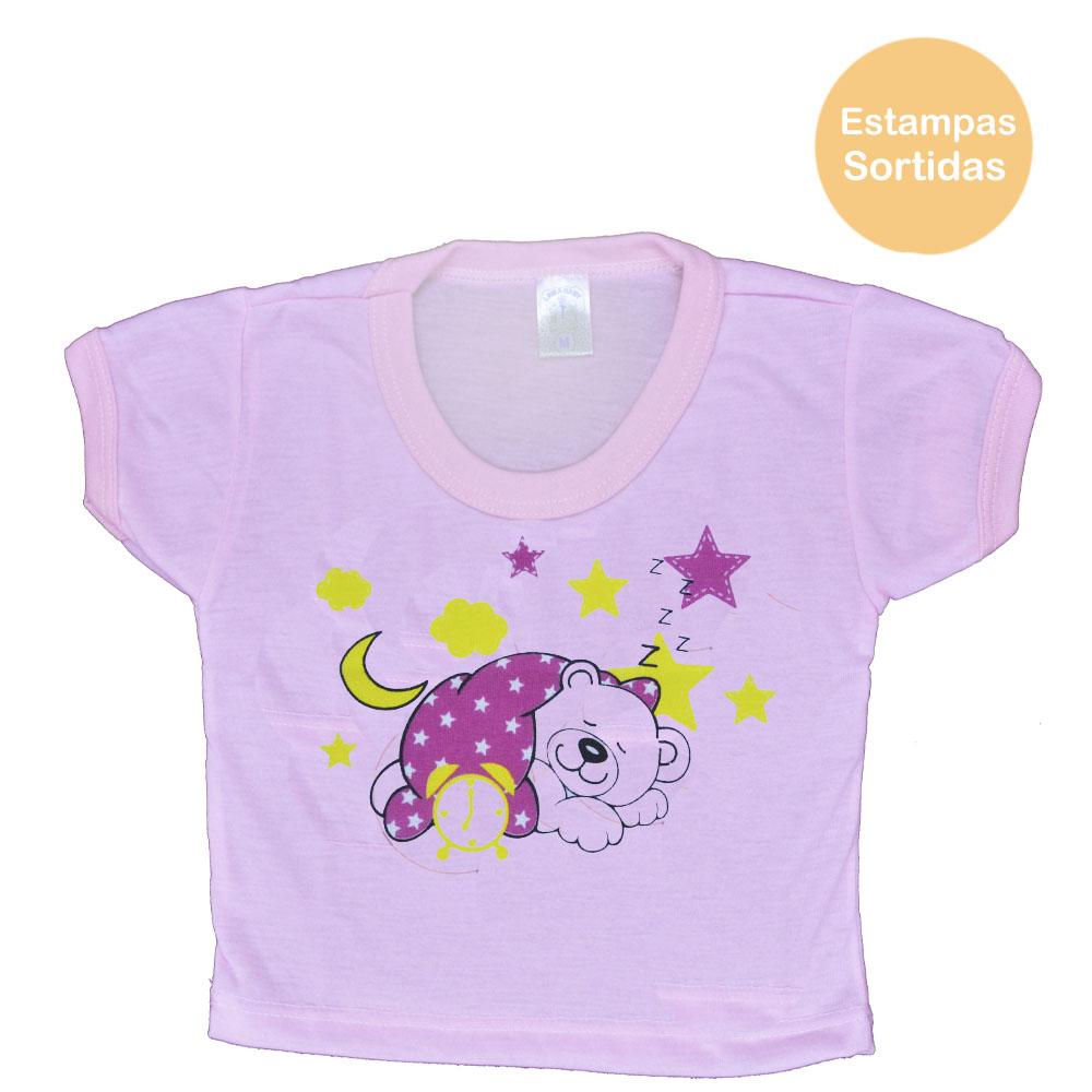Blusa PV de Bebê Rosa Feminino Estampas Sortidas (P/M/G)
