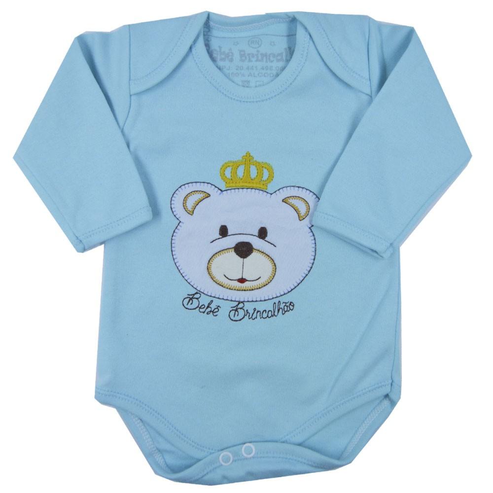 Body Bebê Brincalhão Urso Azul ML RN ao G