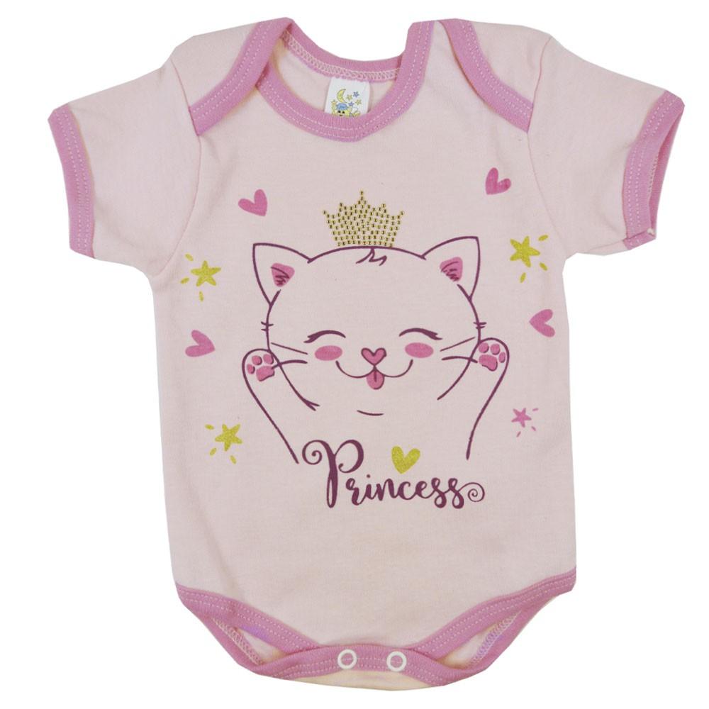 Body Manga Curta Rosa Claro Gatinha Princess RN ao G