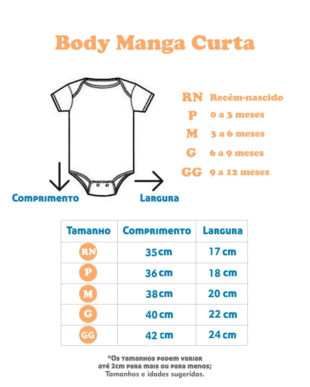 Body Manga Curta Urso Amarelo (RN/P/M/G/GG)