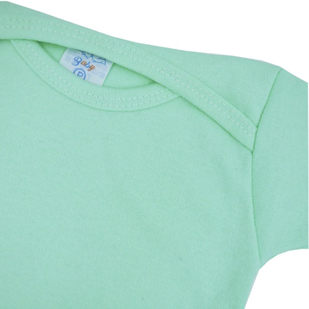 Body Manga Curta Verde Liso P ao G Pequena Confec.