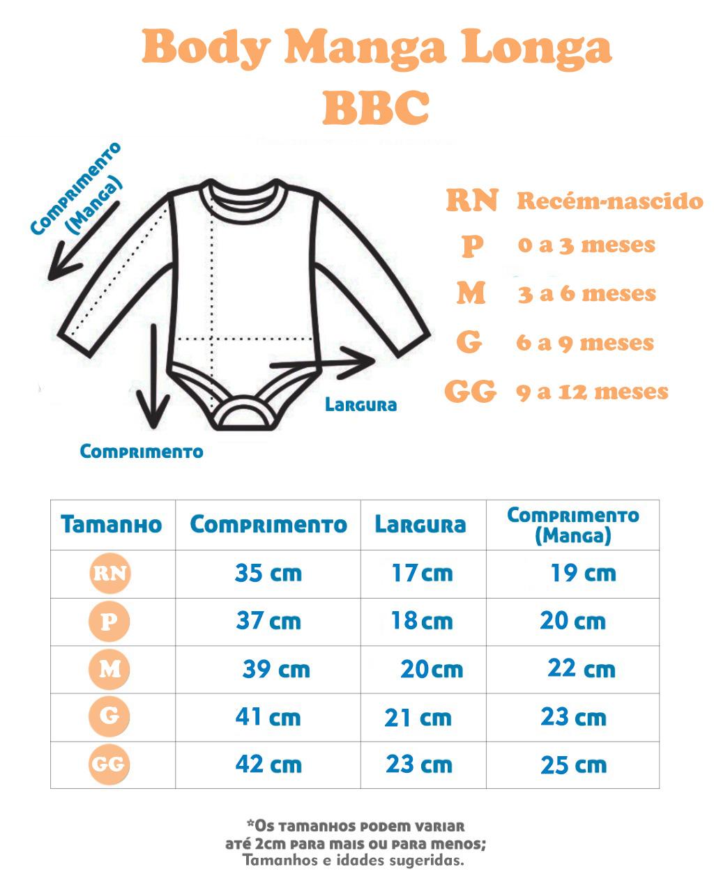 Body Manga Longa Azul Bic Liso (RN/P/M/G/GG)