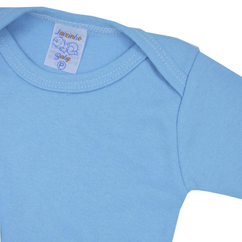 Body Manga Longa Azul P ao G  Liso Pequena Confec.
