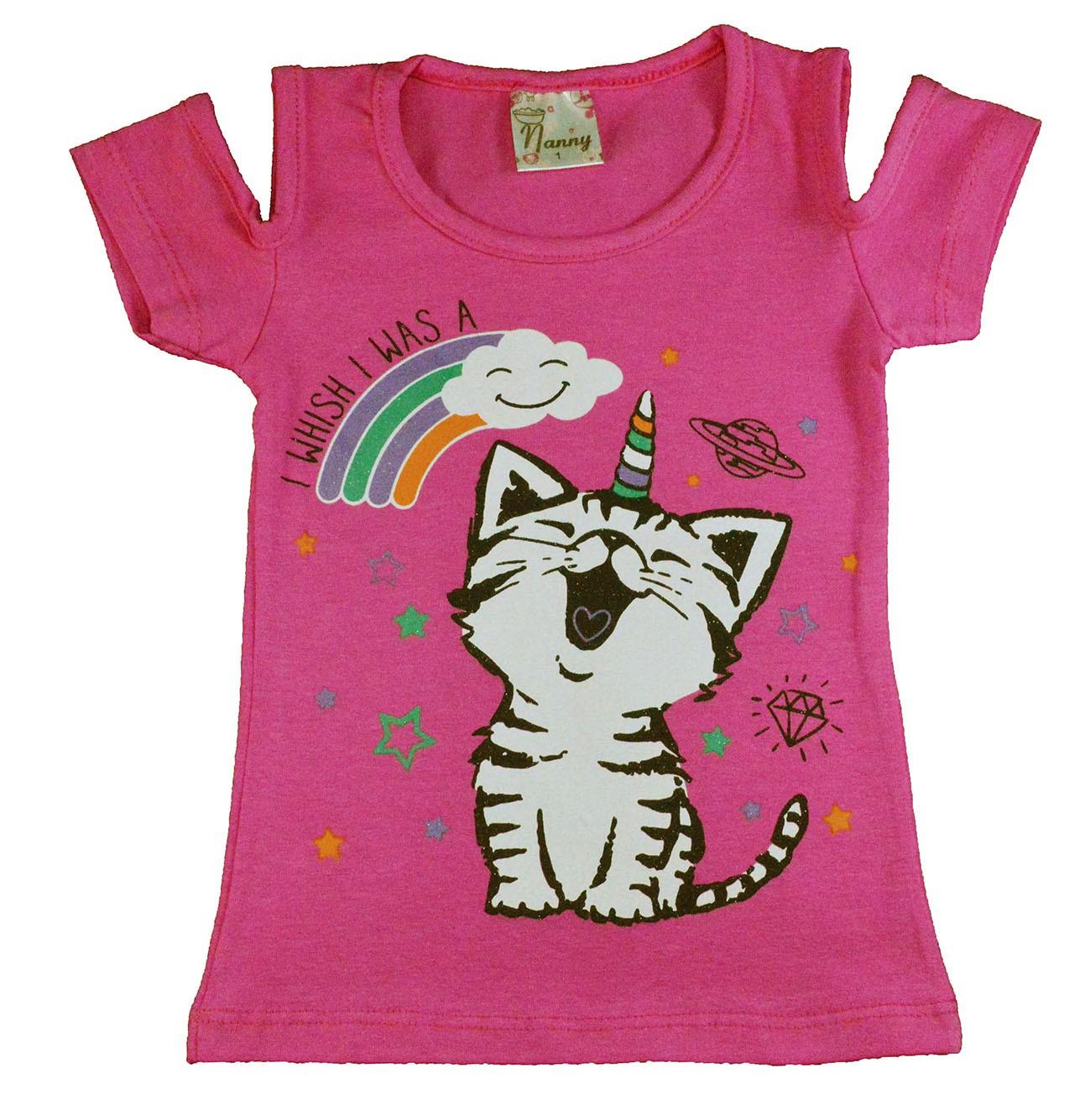 Camisa Infantil Gatinha Arco-Íris