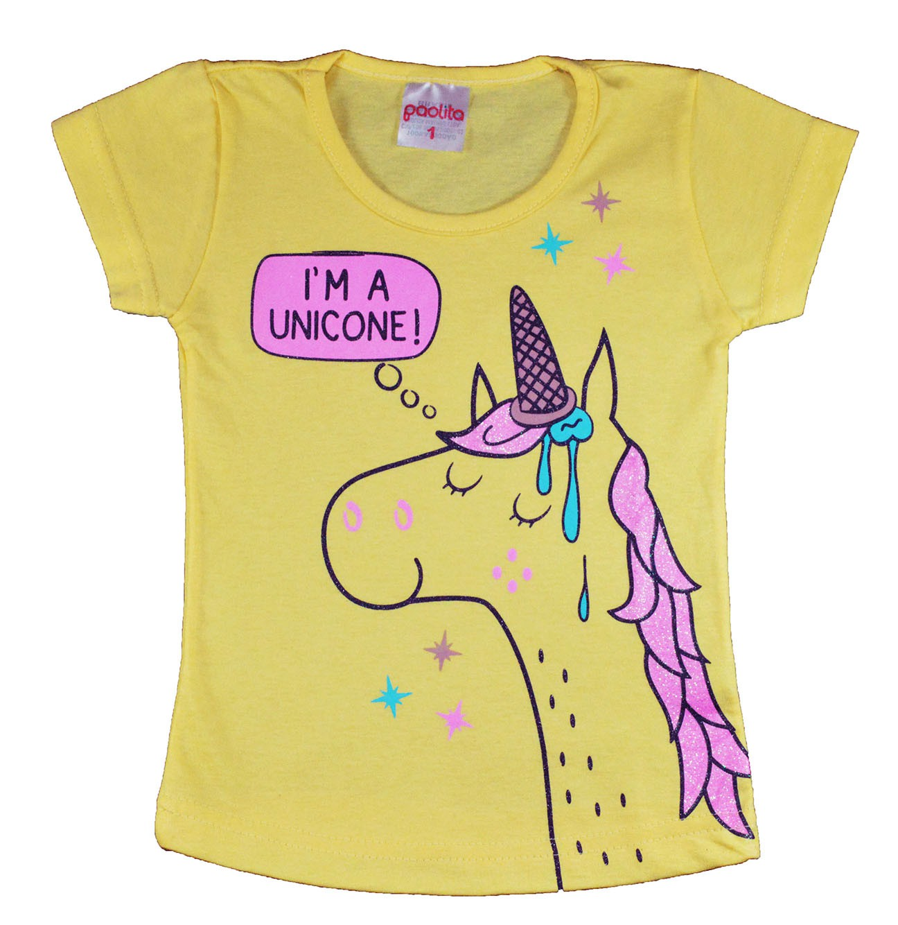 Blusa Infantil (1/2/3) I'm a Unicone Amarelo