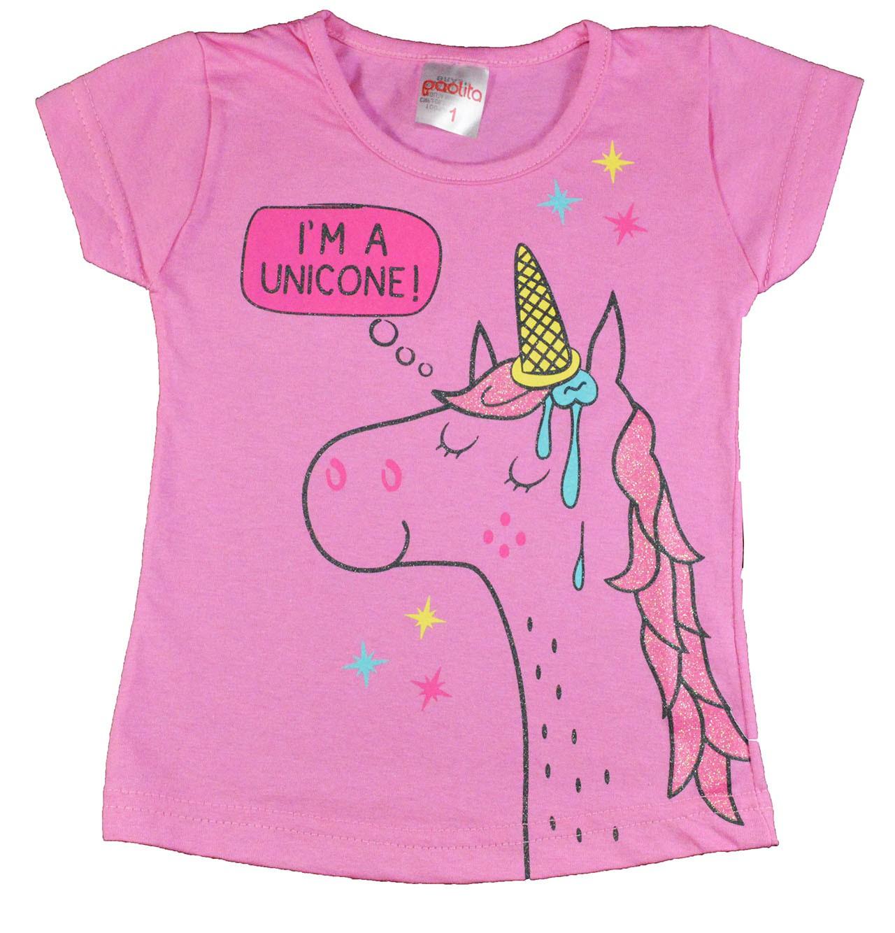 Camisa Infantil I'm a Unicone Rosa