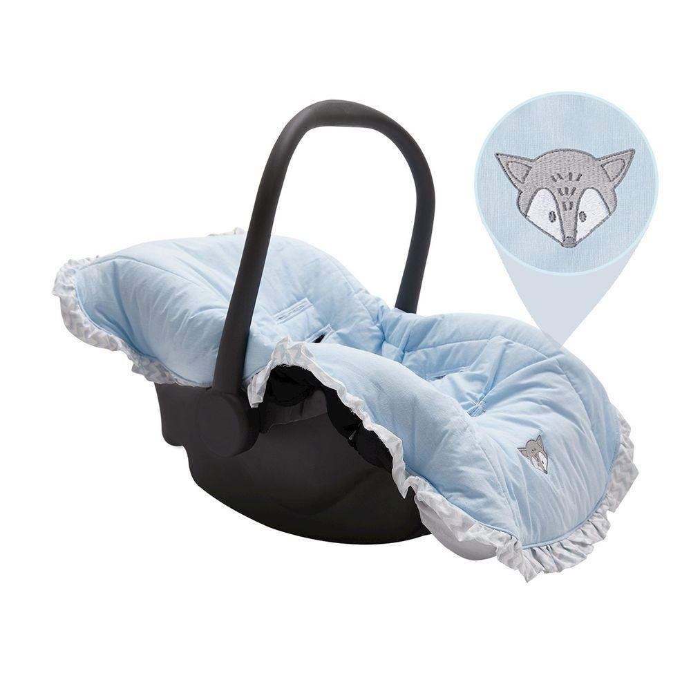 Capa para Bebê Conforto com Babado Azul