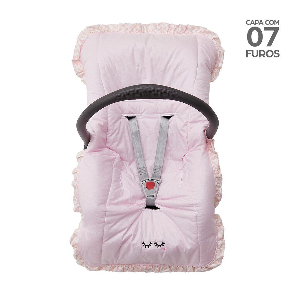 Capa para Bebê Conforto com Babado Rosa
