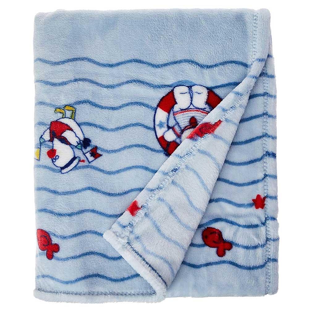 Cobertor de Bebê Microfibra Plush Azul Jolitex