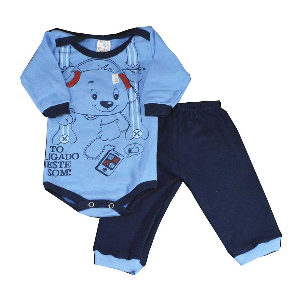 Conjunto Body e Calça Azul Cachorrinho (P/M/G)