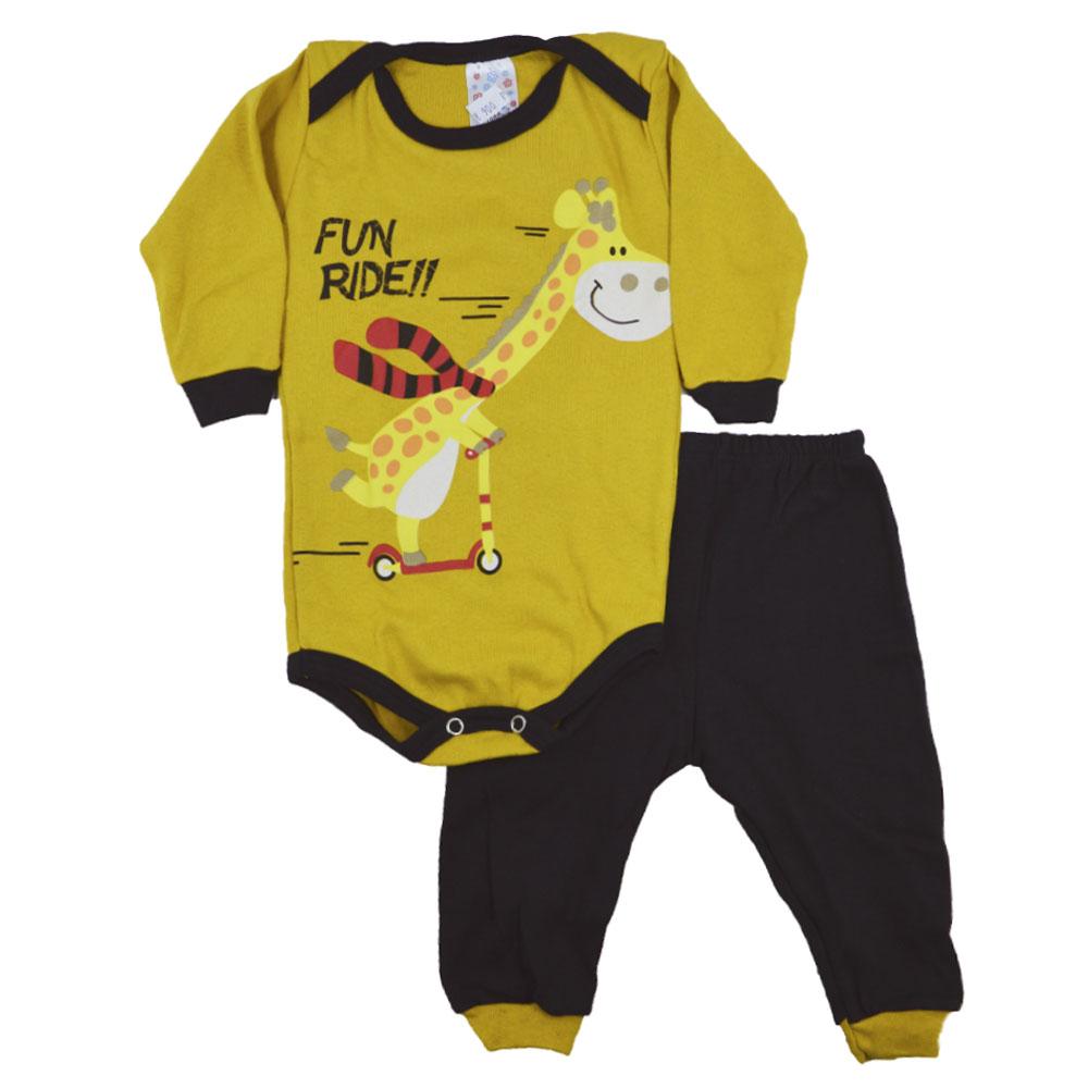 Conjunto Body e Calça Girafa Amarelo (P/M/G)