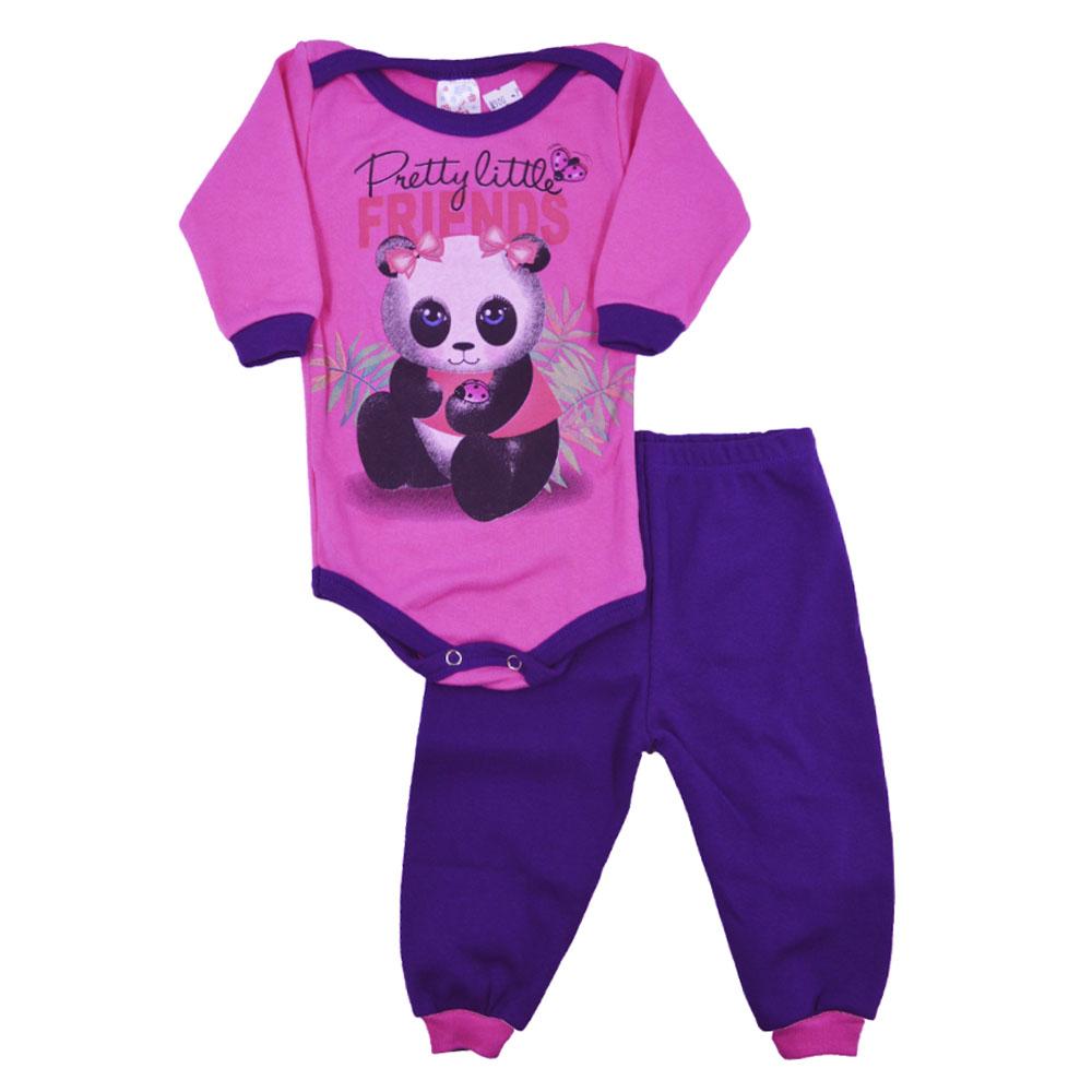 Conjunto Body e Calça Panda Rosa Pink (P/M/G)