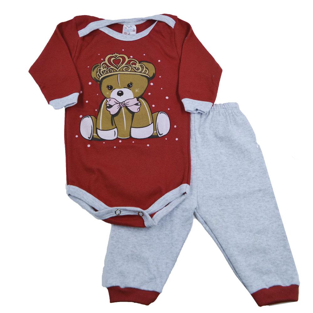 Conjunto Body e Calça Ursinho Coroa Vermelho (P/M/G)