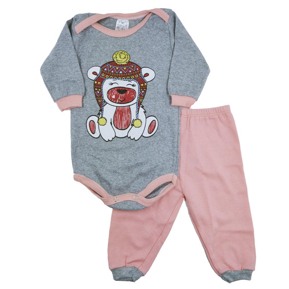 Conjunto Body e Calça Urso Gorro Rosa com Cinza (P/M/G)