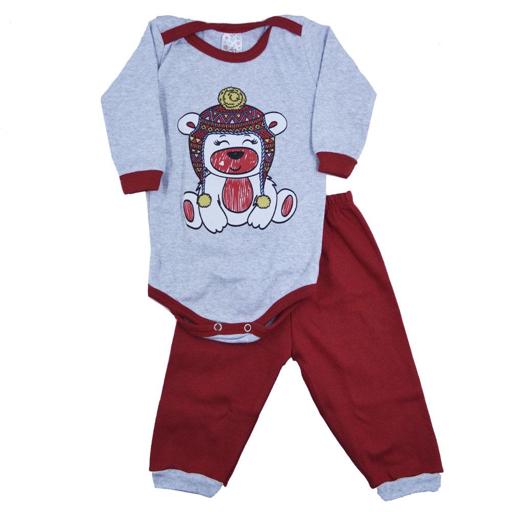 Conjunto Body e Calça Urso Gorro Vermelho com cinza (P/M/G)