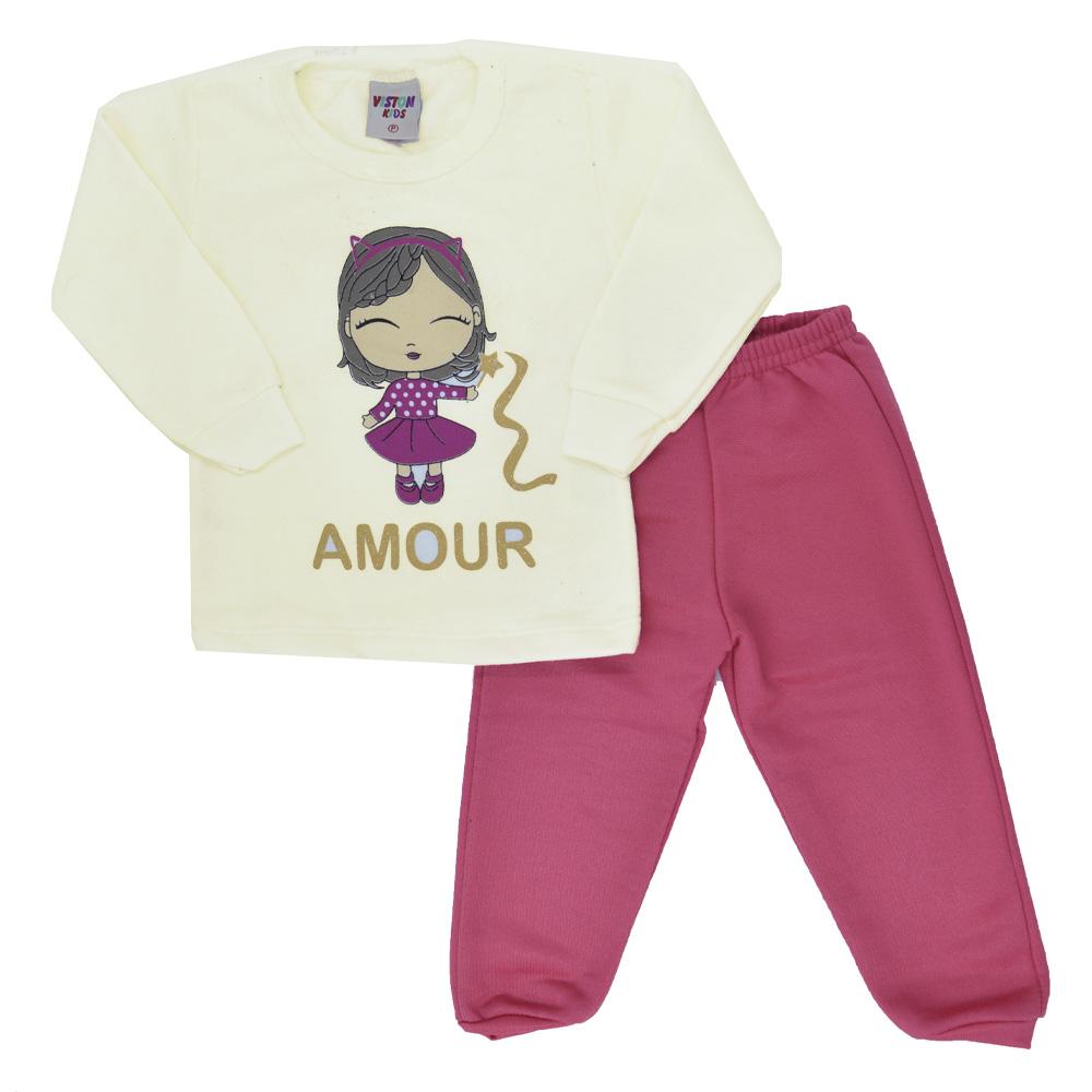 Conjunto de Bebê Moletom Amour (P/M/G)
