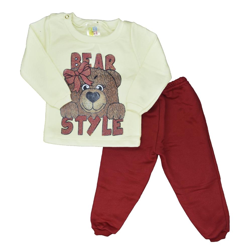 Conjunto de Bebê Moletom Bear Style Bege (P/M/G)