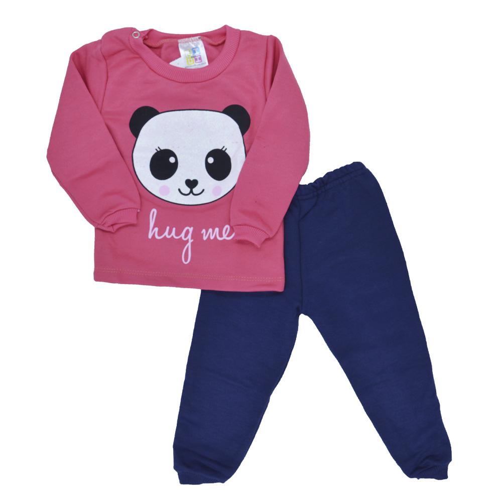 Conjunto de Bebê Moletom Panda Rosa Chiclete (P/M/G)