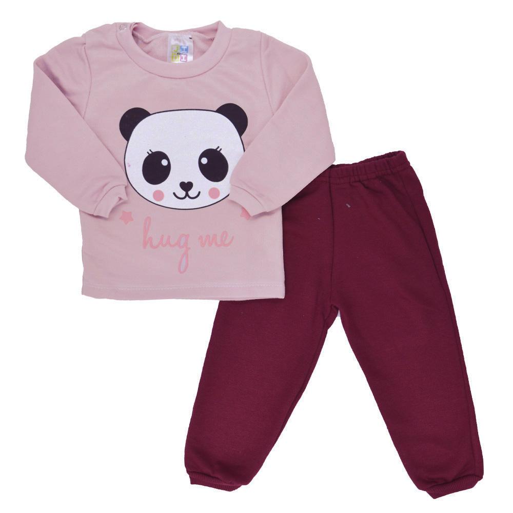 Conjunto de Bebê Moletom Panda Rosa Claro (P/M/G)