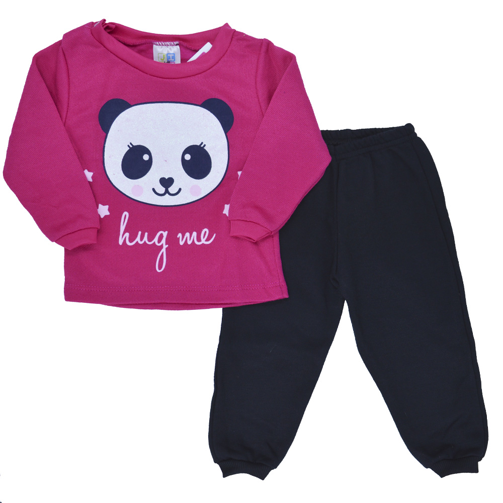 Conjunto de Bebê Moletom Panda Rosa Pink (P/M/G)