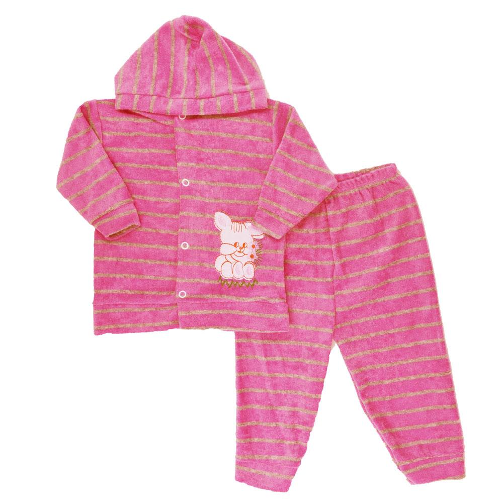 Conjunto de Bebê Plush Atoalhado Rosa Chiclete (P/M/G)