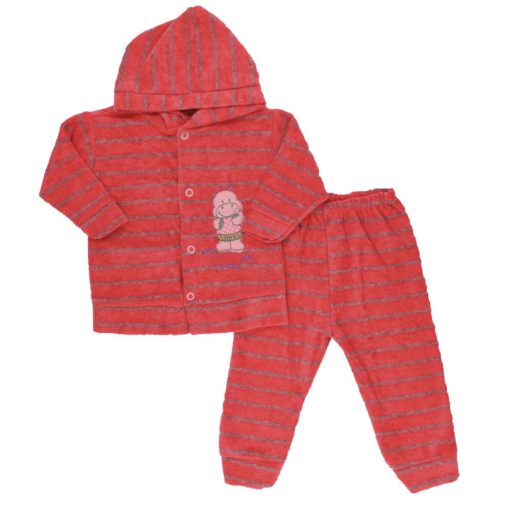 Conjunto de Bebê Plush Atoalhado Vermelho Masculino (P/M/G)