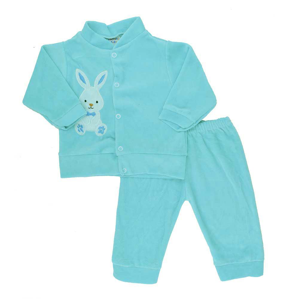Conjunto de Bebê Plush Azul Celeste (P/M/G)