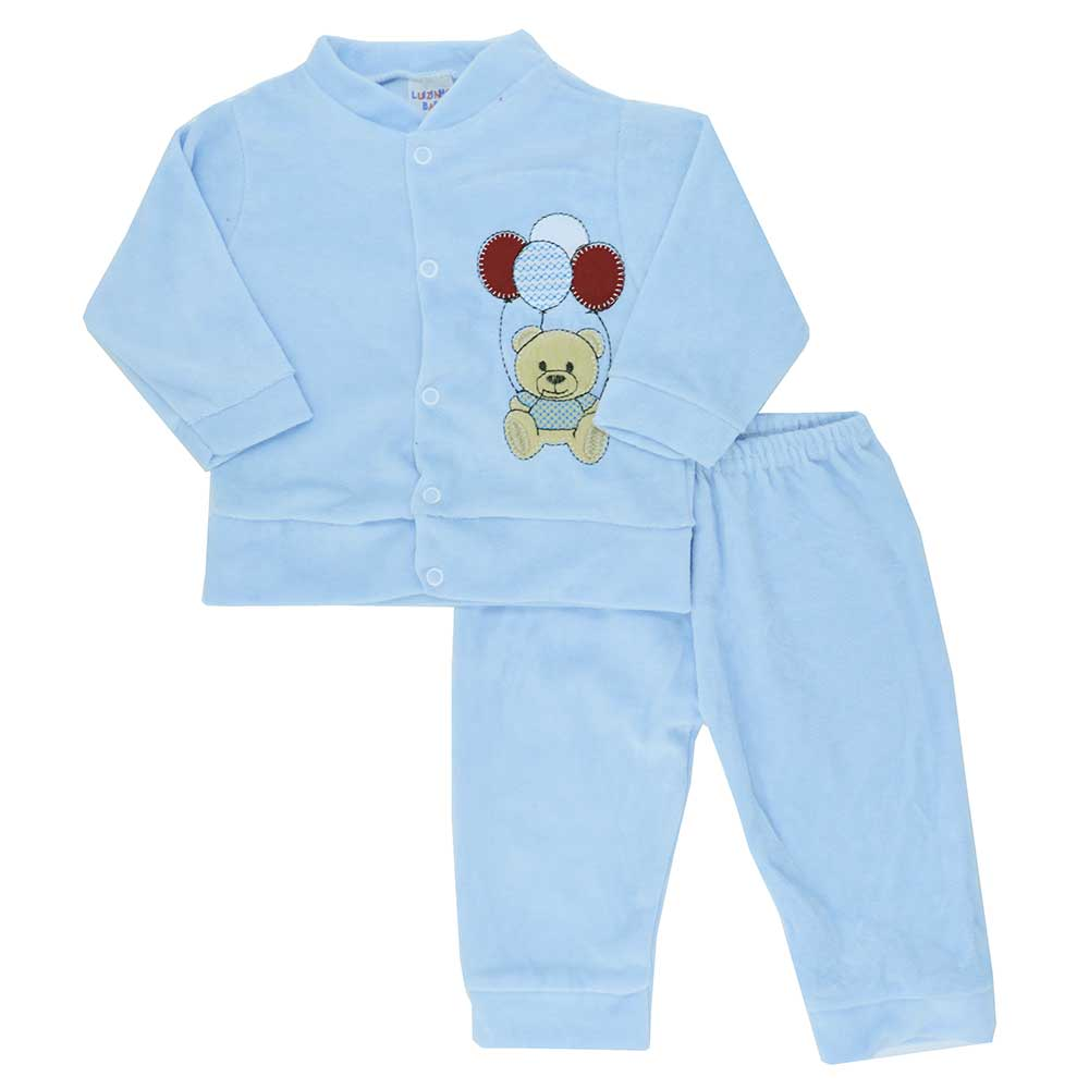 Conjunto de Bebê Plush Azul Claro (P/M/G)