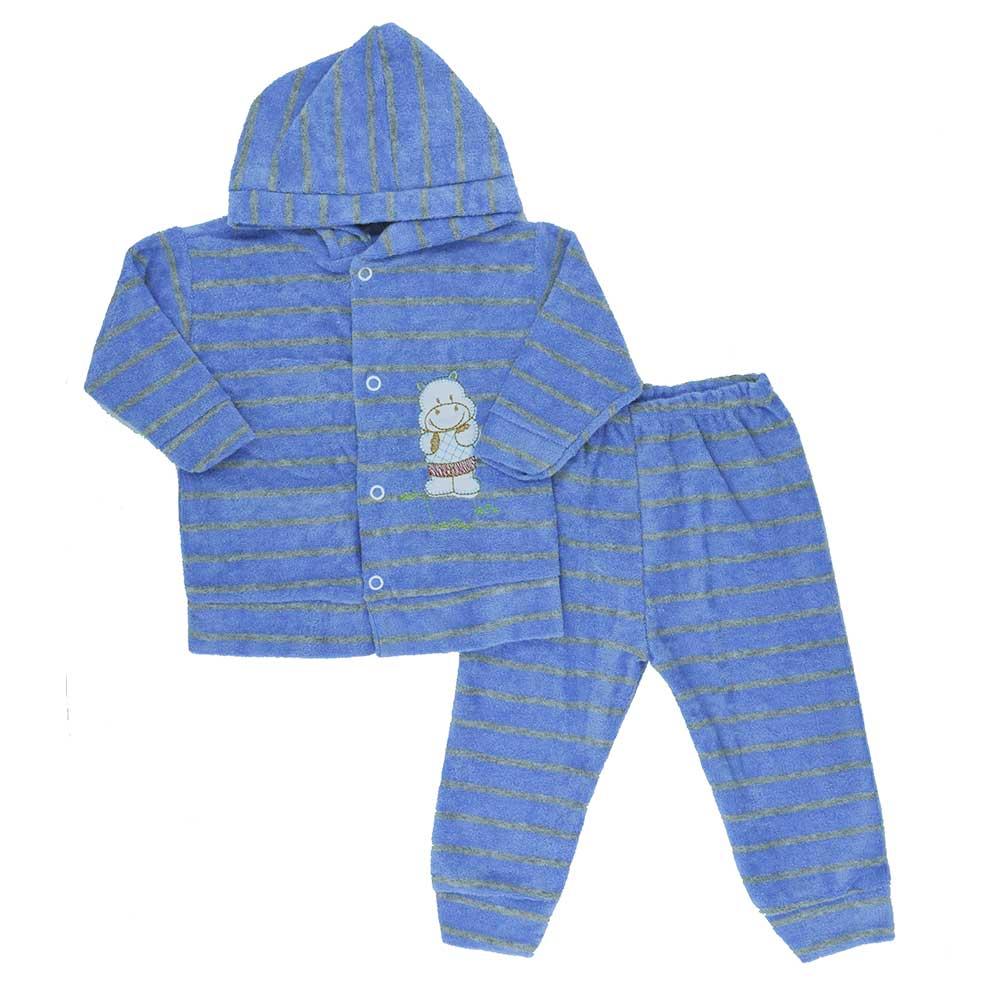 Conjunto de Bebê Plush Atoalhado Azul Escuro (P/M/G)