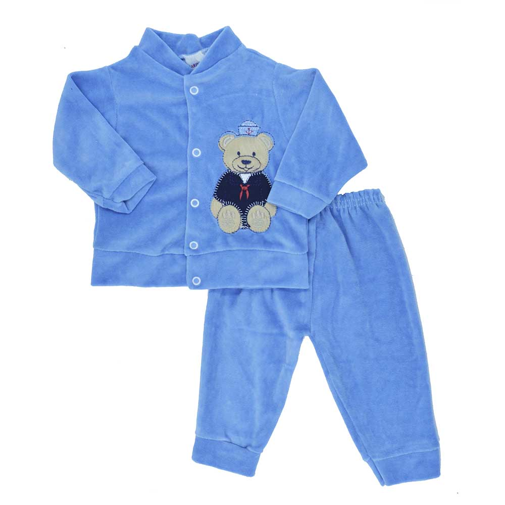 Conjunto de Bebê Plush Azul Médio (P/M/G)