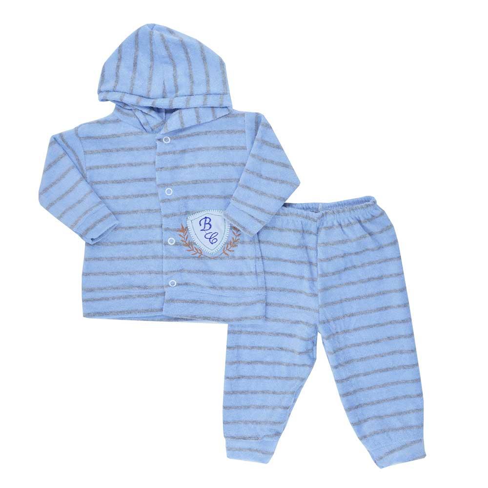 Conjunto de Bebê Plush Atoalhado Azul Claro(P/M/G)