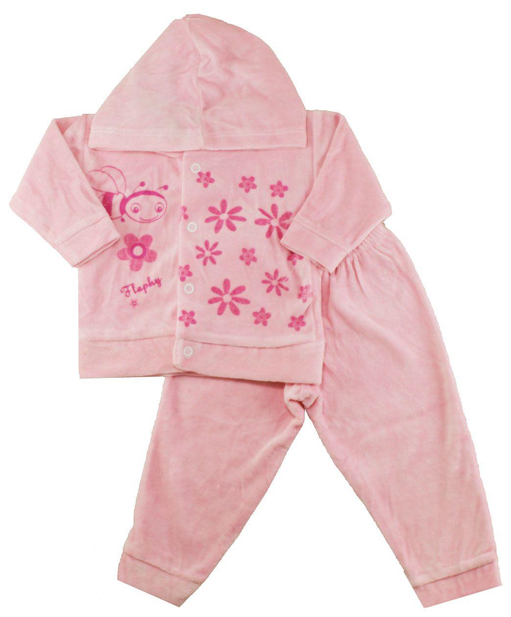 Conjunto Plush de Bebê Flaphy Rosa Estampado