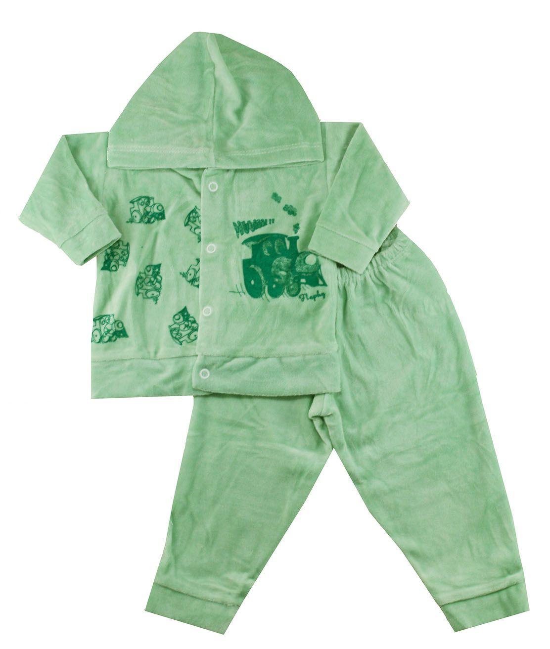 Conjunto Plush de Bebê Flaphy Verde Estampado (P/M/G) | Lojas Boyzinhos